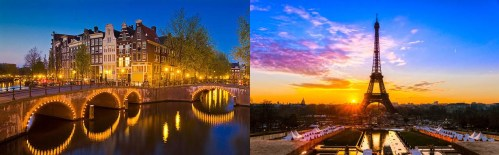 Amsterdam and Paris