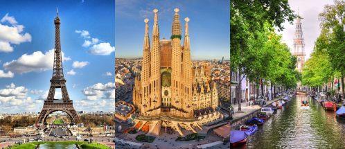 Paris, Barcelona, and Amsterdam